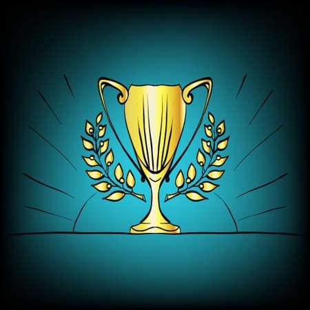 arranging: Golden trophy cup