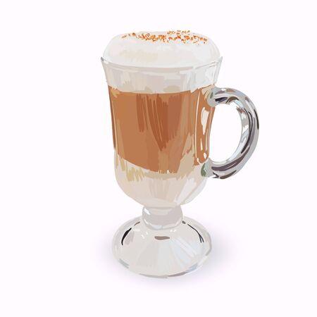 grande tasse en verre de cappuccino avec des couches de crème fouettée fait, illustrations isolées, vecteur latte