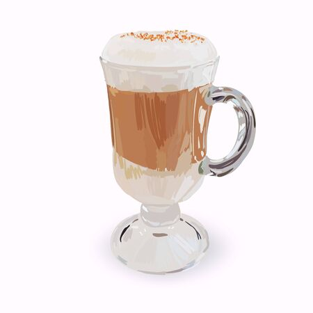 tall glass cup of cappuccino with whipped cream made layers, isolated illustrations, vector latte