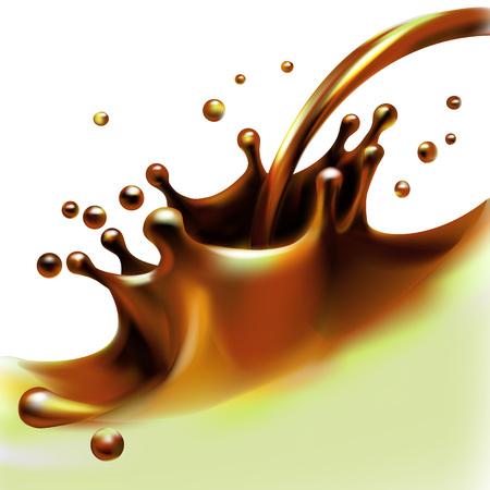 liquid cocoa, chocolate, splashing, pouring, isolated vector Illustration