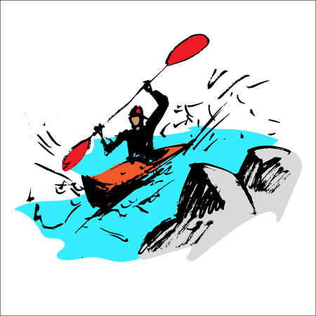 kayak on the river vector