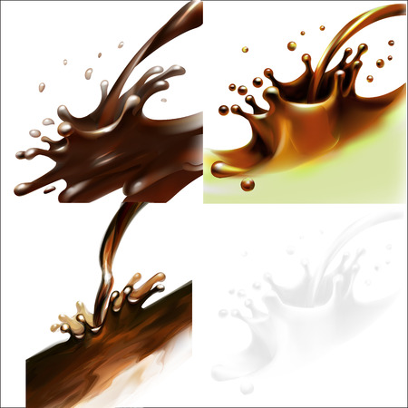 liquid cocoa, chocolate, splashing, pouring, isolated vector Illustration