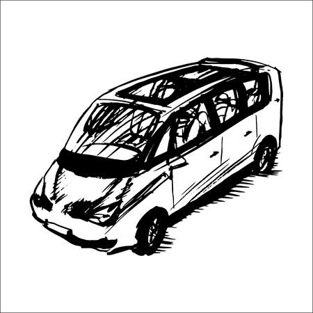 minivan: car, minivan, vector sketch