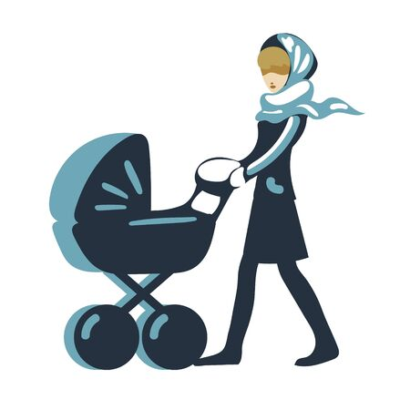 woman, mother comes with a stroller vector isolated
