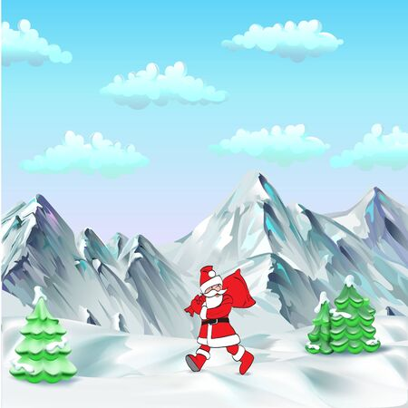 Santa Claus. Template greeting card Father Christmas hand points for a gift, sign your text isolated vector .