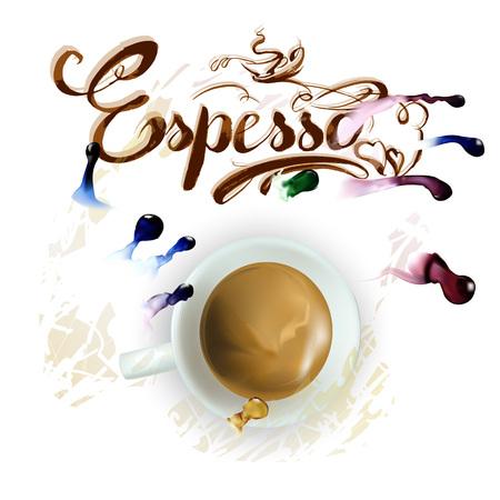 vector cup of espresso coffee watercolor drawing
