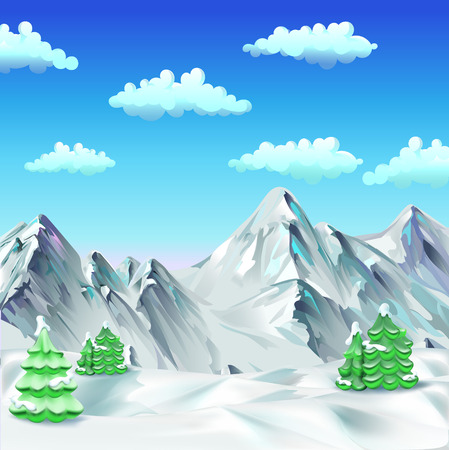 snow mountains: snow, mountains, trees, vector