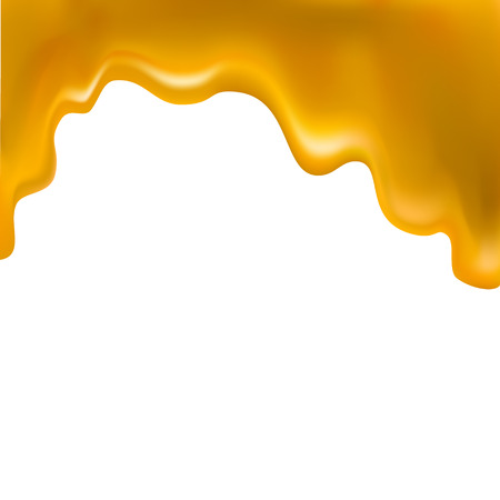 honey flowing, in motion, honey trickling down, isolated vector