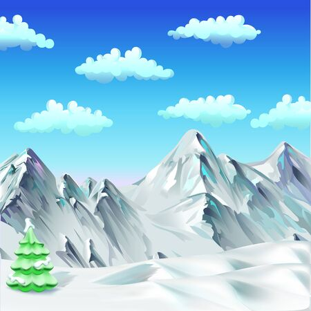 snow, mountains, trees, vector