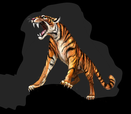 sound bite: Tiger roars, picture Stock Photo