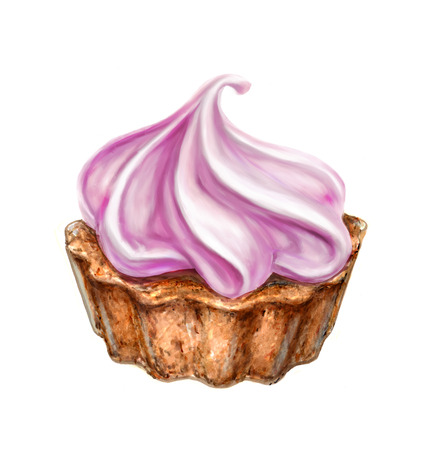 cupcake with cream dessert, baking, drawing
