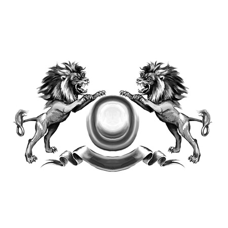 lion tail: Lions, coat of arms, attacking, heraldic symbol Stock Photo