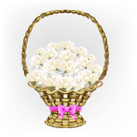 gift, icon, basket, white roses, vector Stock Photo