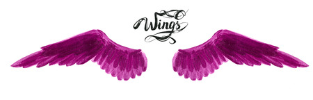angel wings, lettering, drawing Stock Photo