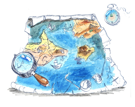 old map, scroll, fantasy games, drawing Stock Photo