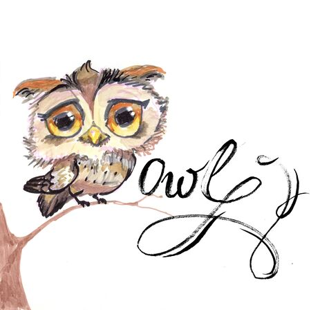 owl, funny, character on a branch, logo