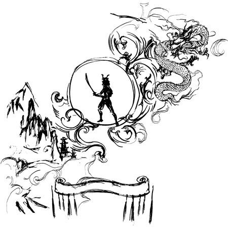 ready logos: samurai vector, lettering, ink drawing, logo
