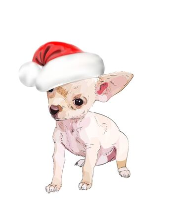 dog in hat christmas symbol vector