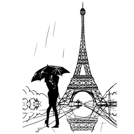 tour Eiffel romantic vector illustration