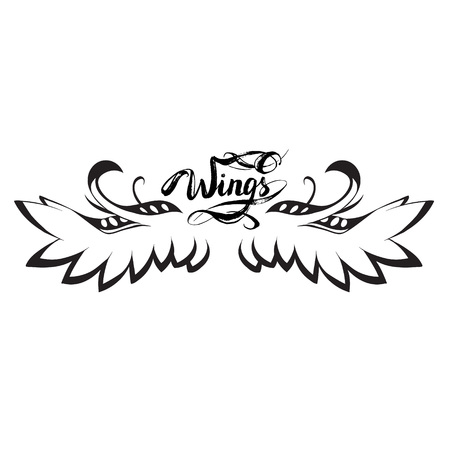 angel wings vector, lettering, drawing Banque d'images