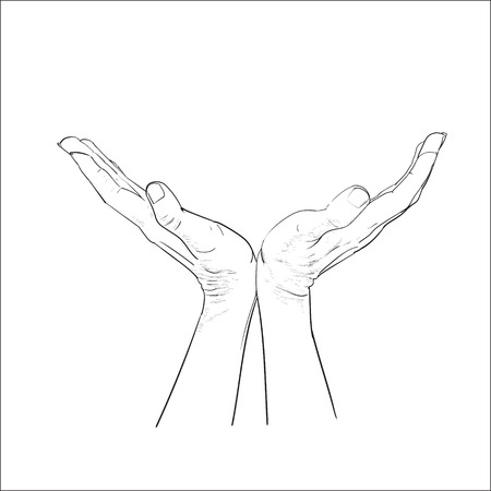 hands palms up vector