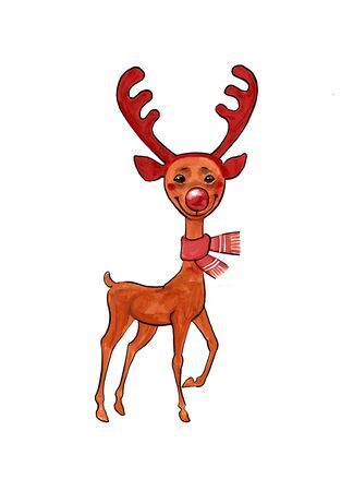 funny deer with red horns illustration of a New Year