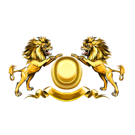 Lions, coat of arms, attacking, heraldic symbol Stock Photo