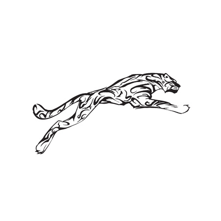 panther tiger logo vector tattoo silhouette Stock Photo
