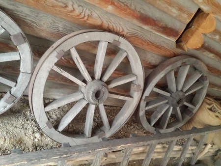 texture of old wooden wheels for carts