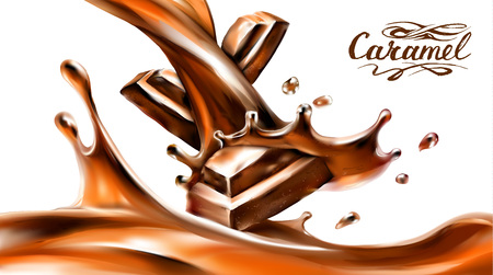 liquid chocolate, caramel or cocoa illustration