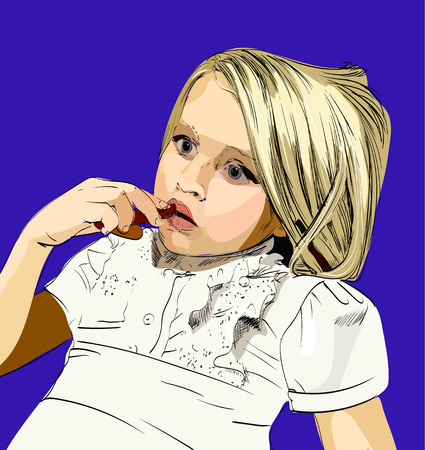 girl eating a cookie in the style of pop art vector Stock Photo