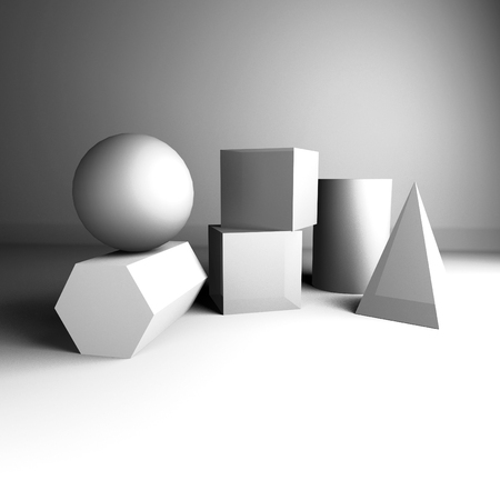 composition of gypsum geometric figures for teaching drawing 3d rendering Foto de archivo