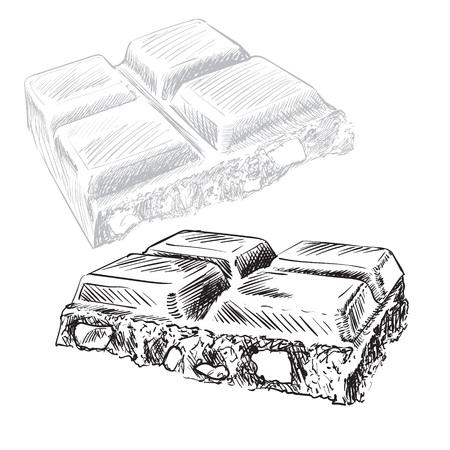 chocolate tile engraving pencil vector illustration 写真素材
