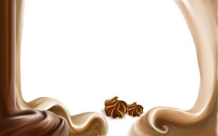 liquid chocolate, caramel or cocoa illustration vector