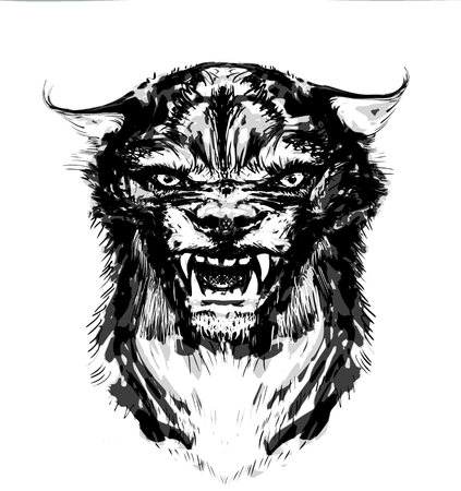 muzzle, wolfs head with bared teeth for a T-shirt Stock Photo