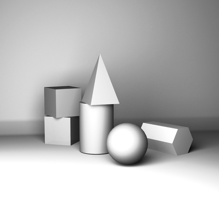 composition of gypsum geometric figures for teaching drawing 3d rendering Stok Fotoğraf