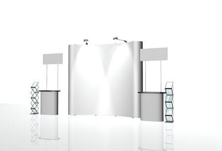 exhibition stands 3d rendering illustration set vector