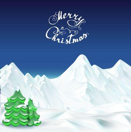 Merry Christmas illustration lettering Stock Photo