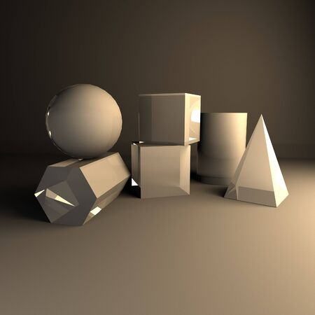 composition of gypsum geometric figures for teaching drawing 3d rendering 写真素材