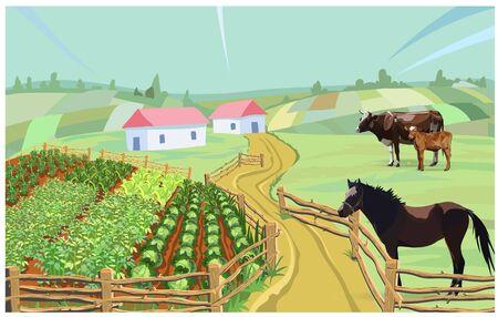 cow farm vector horse