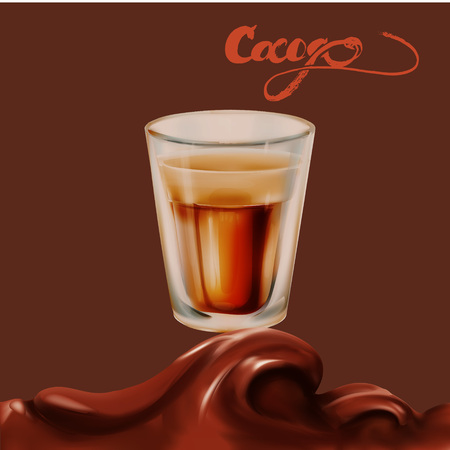chocolate caramel milk splash 3d drop realistic isolated illustration vector