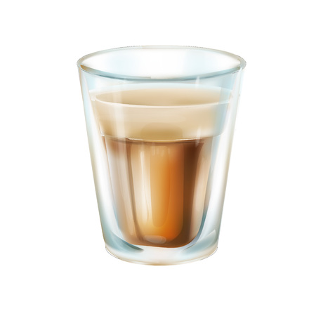 glass of transparent coffee detailed vector 3d illustration