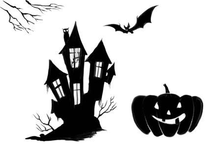 halloween old scary house bat illustration