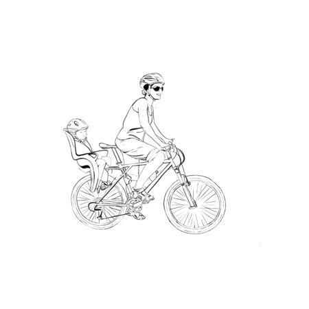 Bike biker girl child ride travel vector