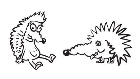 funny hedgehogs little animals vector illustration Zdjęcie Seryjne