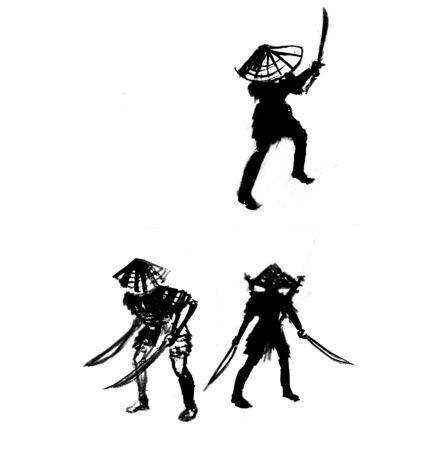 samurai icons warriors japan vector illustration