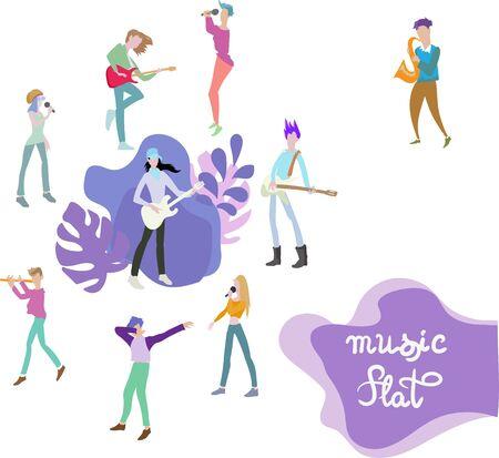 musicians illustration print design template