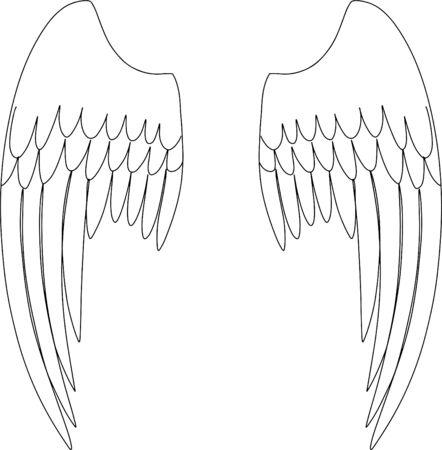 Whings angel. Vector illustration. Print
