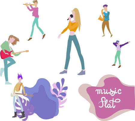 musicians flat illustration flat vector