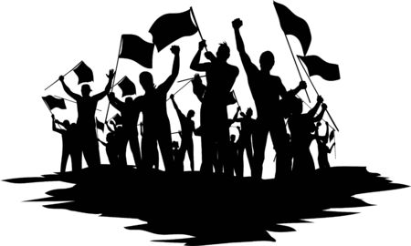 silhouettes of people with flags revolution strike vector illustration Vector Illustration